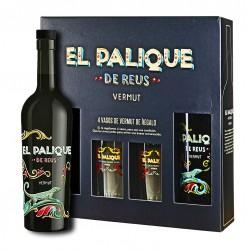 ESTUCHE DE LUJO CON 2 BOT. VERMUT EL PALIQUE REUS + 4 VASOS (SIN IVA 14,45€)